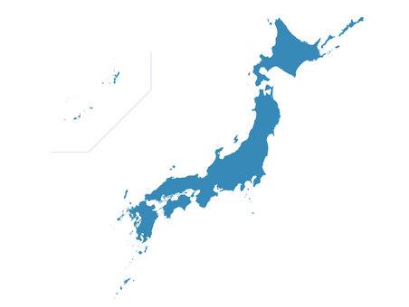 Japan Map Color Silhouette