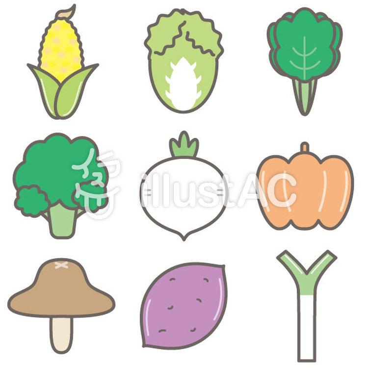 シンプルかわいい野菜セットイラスト No 1130020無料イラストなら