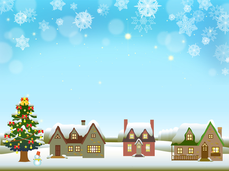 Christmas tree and private house frame (snow) 2