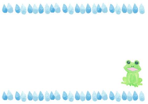 かえる(雨粒フレーム)