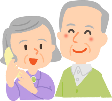 An elder couple with a nice face on the phone