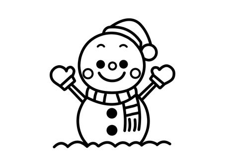 雪だるま クリスマス 白黒