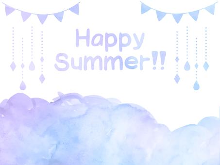 Watercolor hand-drawn summer color material set purple (transparent)