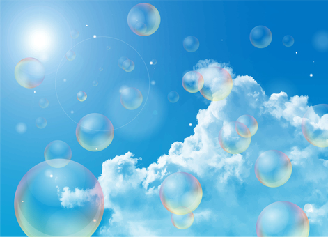 Soap bubbles and blue sky