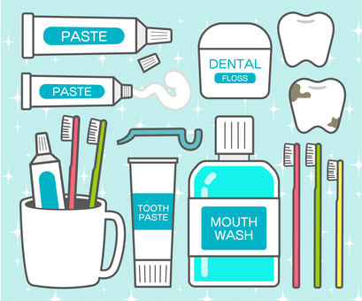 Tooth brushing tools illustration set