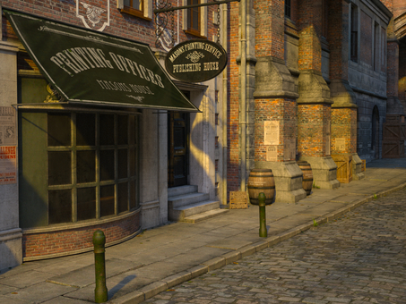 Landscape of old London streets (print shop)