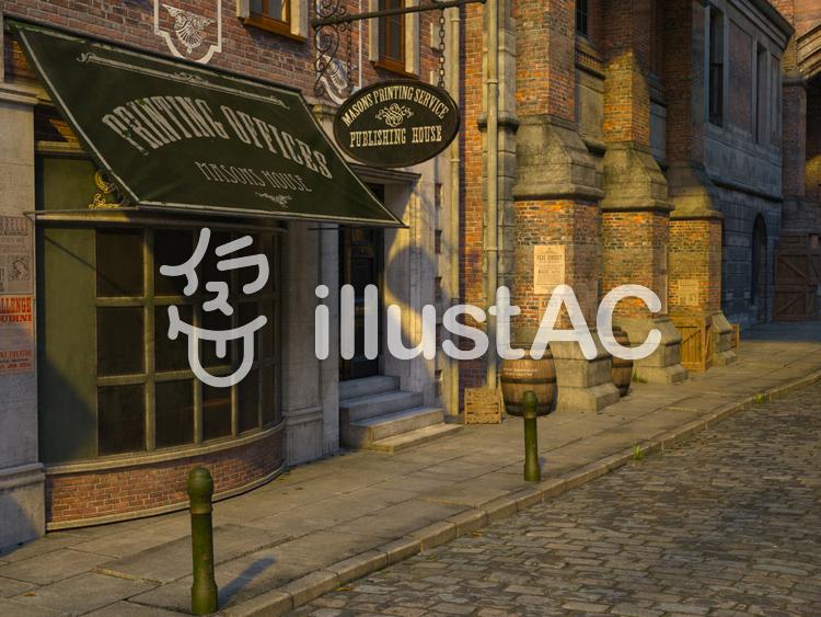 古いロンドンの街並みの風景(印刷屋)のイラスト