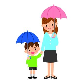 Parent and child pointing to an umbrella