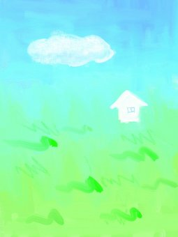 Prairie and house and clouds