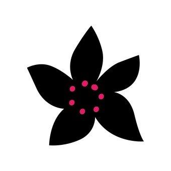 북유럽 풍의 꽃 (검정)
