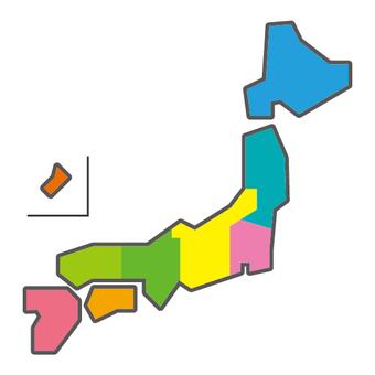 Japan map Regional color classification