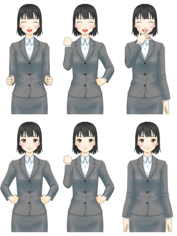 Standing picture pose set (suit female) - Smile