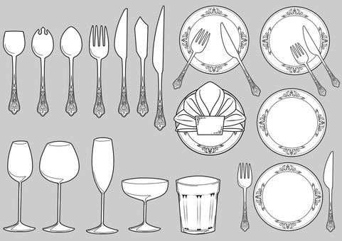 Cutlery illustration (Western-style tableware) ver White