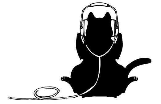 Kuroneko silhouette headphone