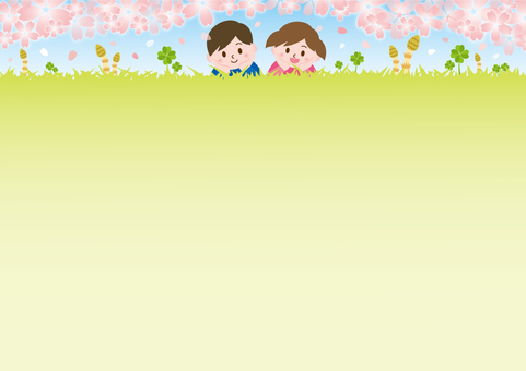 Children lying on the lawn of spring _ cherry blossoms A02