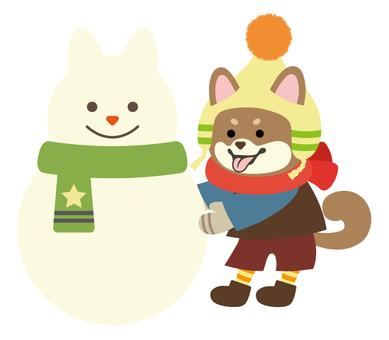 柴犬-茶-雪だるま作り-全身