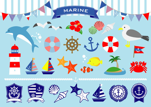 Summer marine illustration set