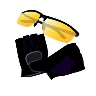 Sunglasses and gloves