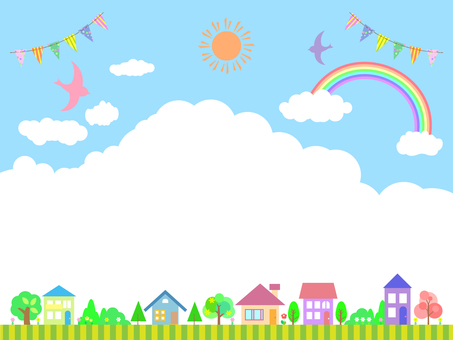 Cityscape frame with rainbow, clouds, garland and birds