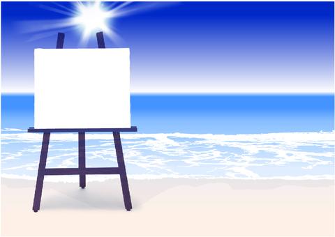 Beautiful blue sea and sky message card