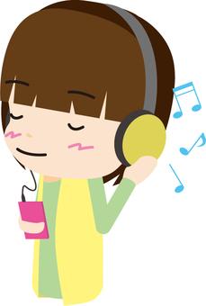 Listening to music (headphones) women