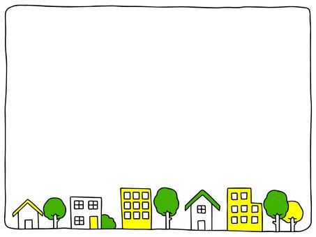 街並みフレーム(黄色・緑)