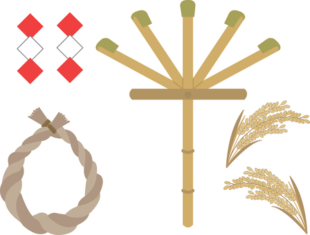 【Events】 Rake, rope, rice earrings · decorations