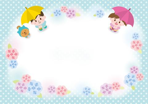 Hydrangea and children and Shiba Inu _ B 4 _ D