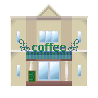 Illustration of building coffee shop