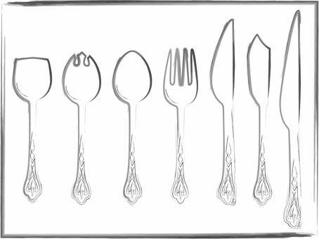 Western-style tableware (cutlery) Black line drawing brush pen style