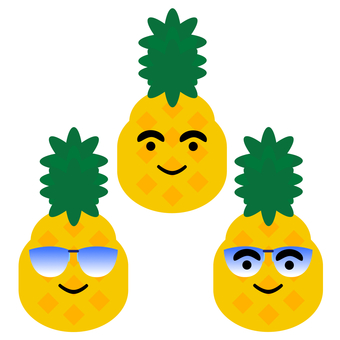 Pineapples wearing sunglasses