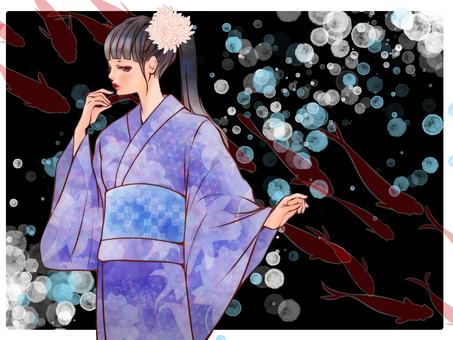 Yukata beautiful woman (鯉 · goldfish background)