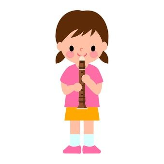 Child blowing recorder
