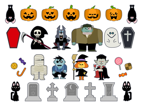 Cute Halloween illustration set 01