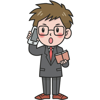 Illustration of a man in a suit (talking with a smartphone)