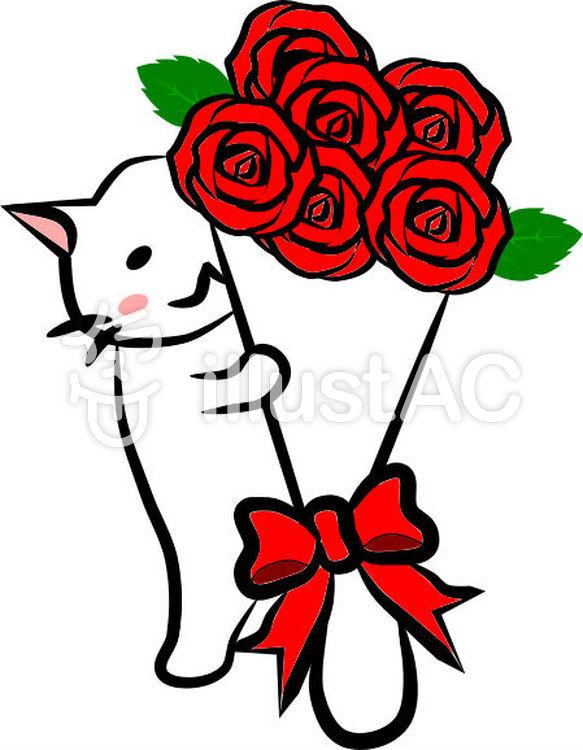 ねこさんとバラの花束イラスト No 355968無料イラストなら