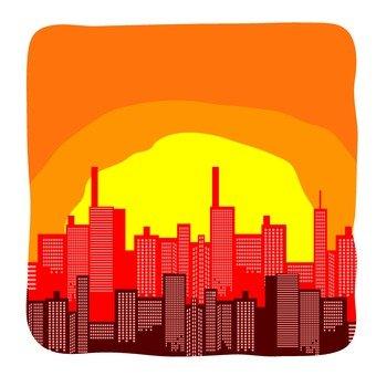 夕陽的城市景觀