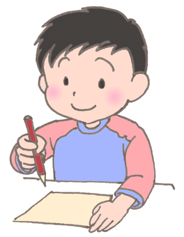 A boy writing a letter. Red clothes version