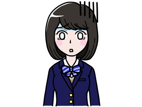Gern and depressed student girl JK schoolgirl