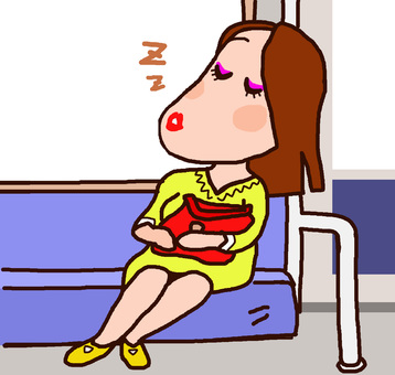 Woman tired at work and dozing on the train