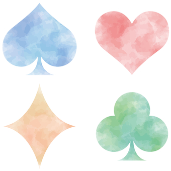 Playing card mark watercolor color set material