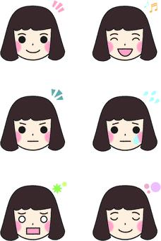 Girl's facial expression set