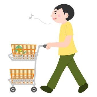 A man who presses a shopping cart