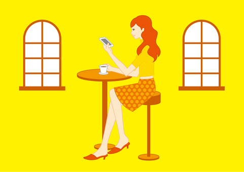 A woman looking at a smartphone
