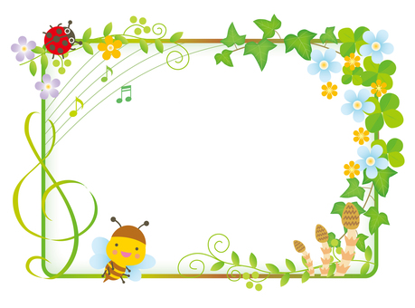 Honey bee and flower frame