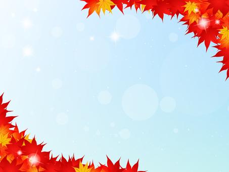 단풍 코너 프레임 푸른 하늘