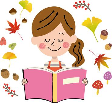 Autumn book reading Pink autumn frame female apron
