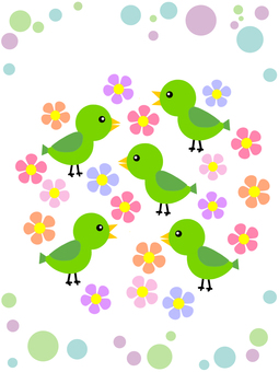 Bird and flower pattern background illustration cute wallpaper material