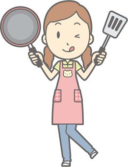 Nursery female - frying pan - whole body