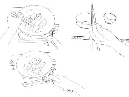 Hands, cooking and meals (line drawing)